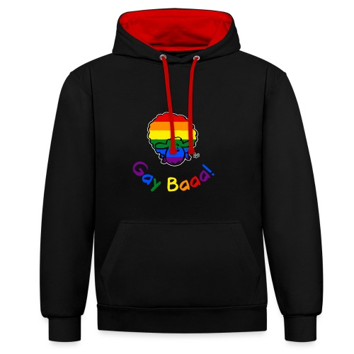 Gay Baaa! Pride Sheep (black edition rainbow text) - Contrast Colour Hoodie