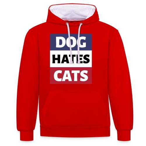 Dog Hates Cats - Kontrast-Hoodie