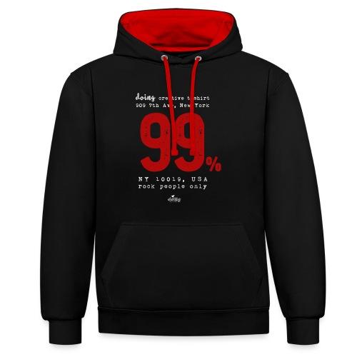 99 % - Felpa con cappuccio bicromatica