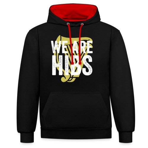 WEAREHIBS WhiteWithGoldHarp - Contrast Colour Hoodie