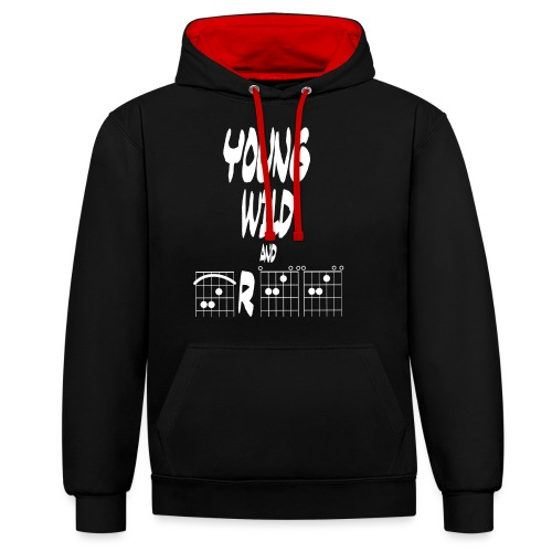 Young wild and free in guitar chords - Contrast Colour Hoodie