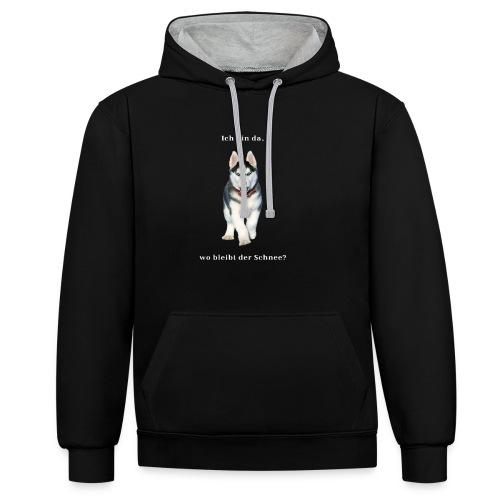 Husky Welpen mit bezaubernden Augen - Kontrast-Hoodie