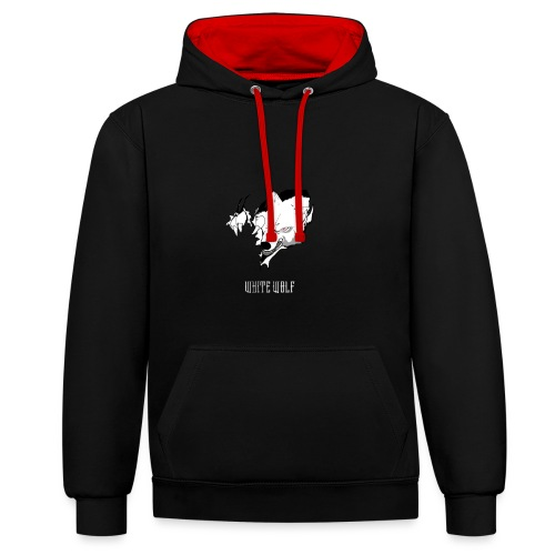 WhiteWolf logo with text (white) - Contrast Colour Hoodie