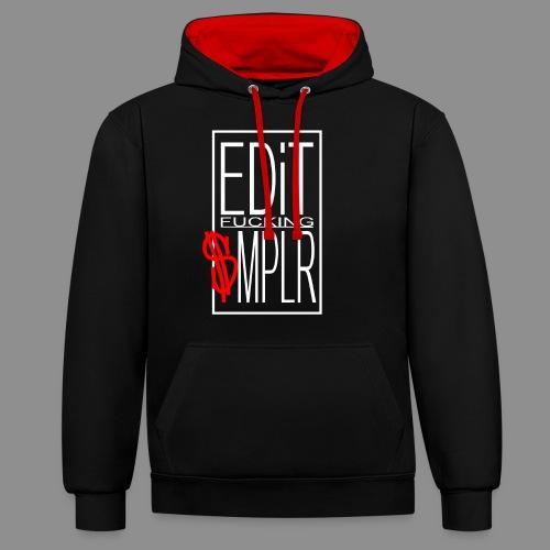 EDiT SMPLR shirt logo weiss - Kontrast-Hoodie