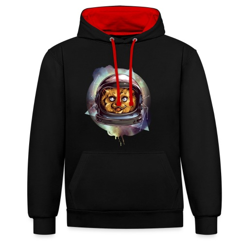 Cute astronaut kitten - Contrast Colour Hoodie