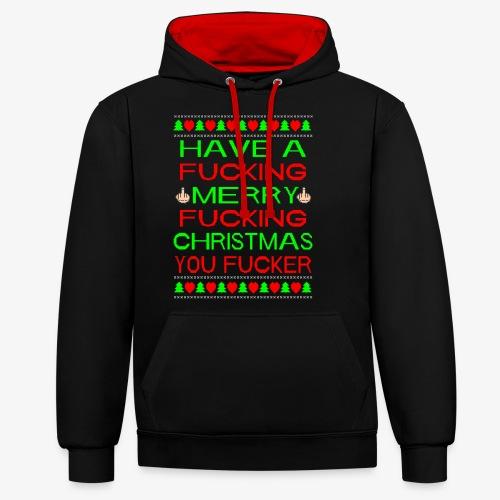 Merry Fucking Christmas Ugly Christmas Sweater - Kontrast-Hoodie