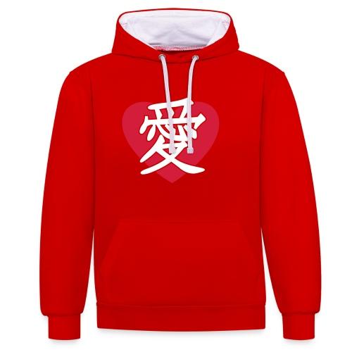 JapaneseLoveSign&Heart - Kontrast-hættetrøje