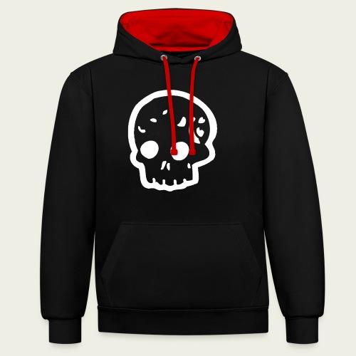 Skull logo whi - Sudadera con capucha en contraste
