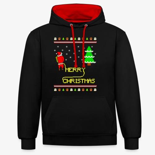 Merry Christmas Ugly Xmas Lustig Pinkelnder Santa - Kontrast-Hoodie