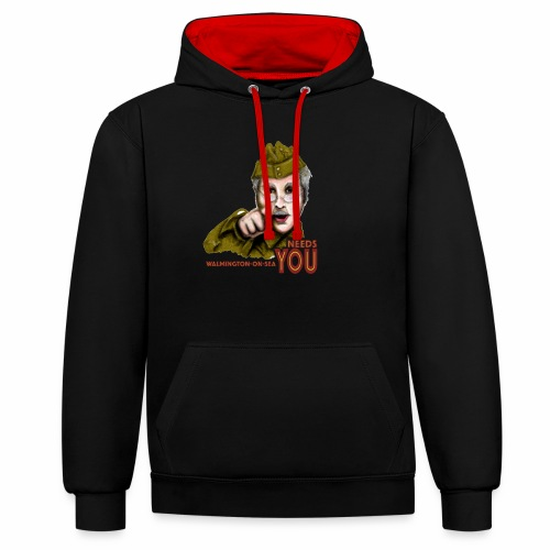 Walmington on Sea by Jon Ball - Contrast Colour Hoodie