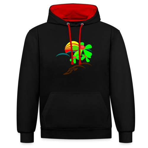 Berry - Contrast Colour Hoodie