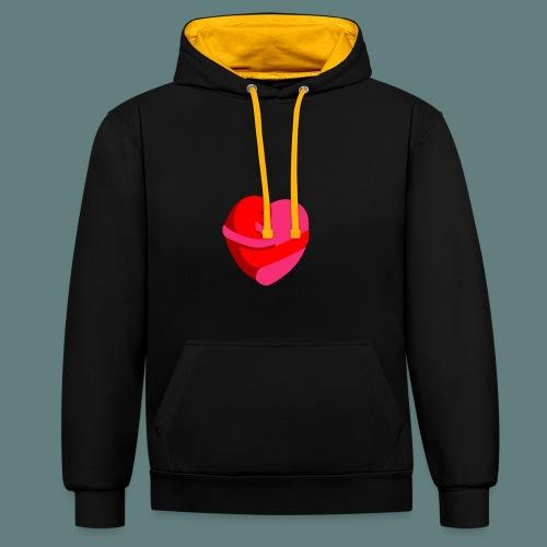 hearts hug - Felpa con cappuccio bicromatica