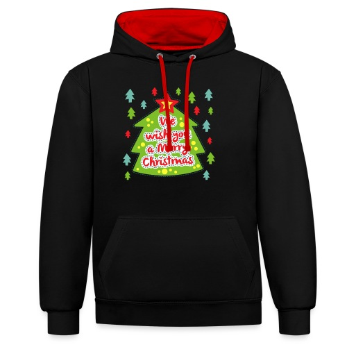 We wish you a Merry Christmas - Contrast Colour Hoodie