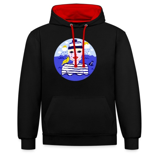 the sailor in love with the sea - Kontrast-Hoodie