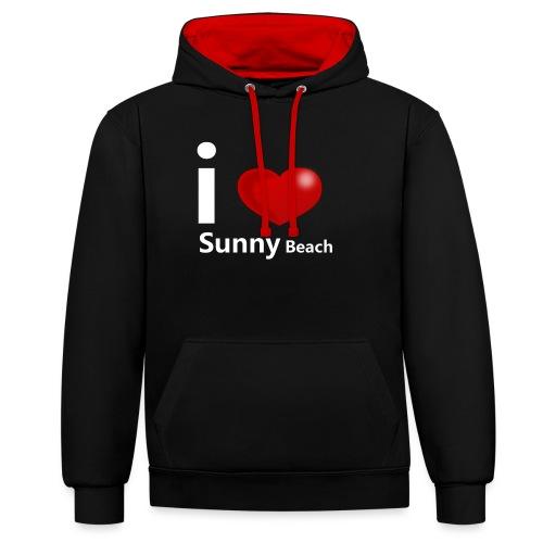 I love Sunny Beach 2 (white print) - Contrast Colour Hoodie