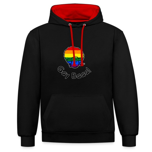 Gay Baaa! Rainbow Pride Sheep (edizione nera) - Felpa con cappuccio bicromatica