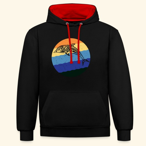 Greek Dolphin Retro - Contrast Colour Hoodie
