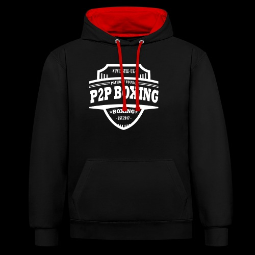 P2P Boxing White Logo - Contrast Colour Hoodie