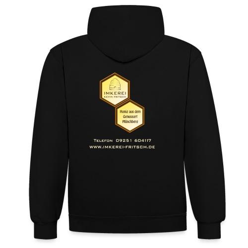 Shirt Imkerei Fritsch, 2 Waben hinten, vorne Logo - Kontrast-Hoodie