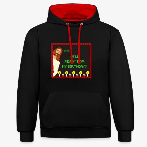 Jesus Geburtstagsparty Ugly Christmas - Kontrast-Hoodie
