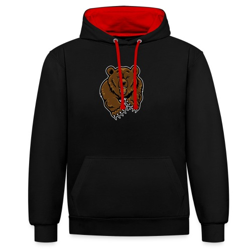 mean-bear-face-clipart-1 - Contrast Colour Hoodie