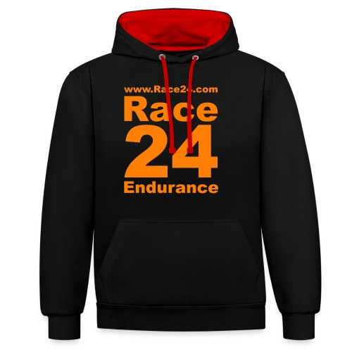 Race24 Logo in Orange - Contrast Colour Hoodie
