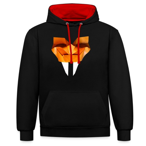 Origami Saber Toothed Tiger Mask - Origami Tiger - Contrast Colour Hoodie