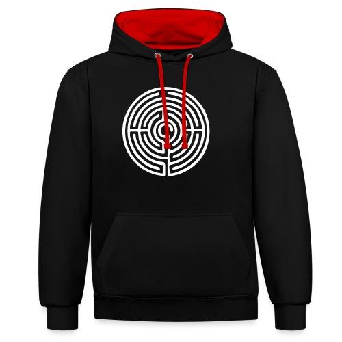 Labyrinth Schutzsymbol Lebensweg Magie Mystik - Kontrast-Hoodie