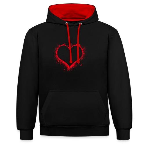 heart 2402086 - Felpa con cappuccio bicromatica