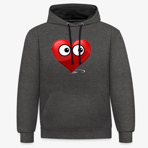 cœur avec yeux - Sweat-shirt contraste