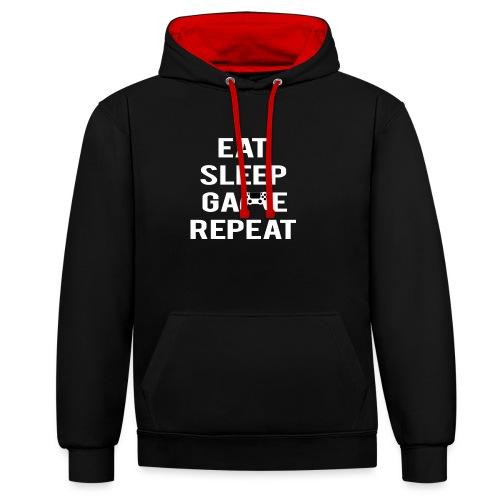Eat, sleep, game, REPEAT - Contrast Colour Hoodie