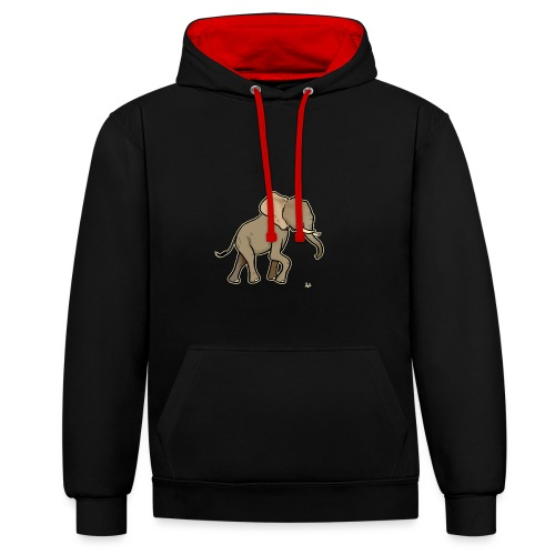 African Elephant (black edition) - Contrast Colour Hoodie