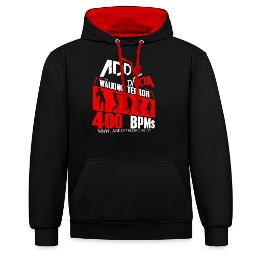 Addict Recordings Walking - Contrast Colour Hoodie