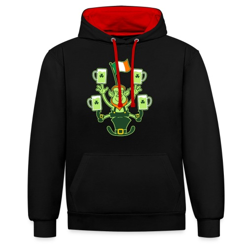 Leprechaun Juggling Beers and Irish Flag - Contrast Colour Hoodie