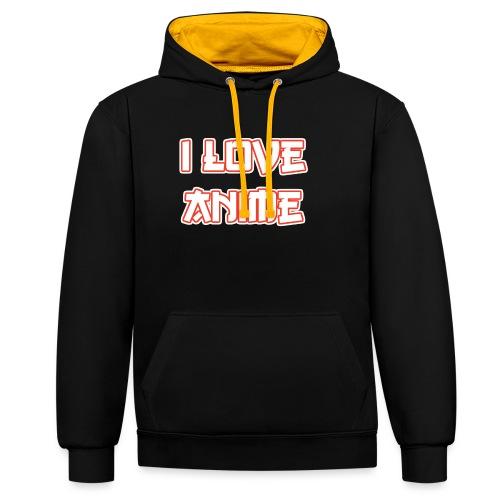 I Love Anime - Kontrast-Hoodie