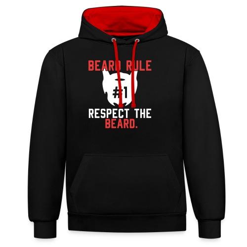 BEARD RULE 1 RESPECT THE RULE - Bart-Regel #1 - Kontrast-Hoodie