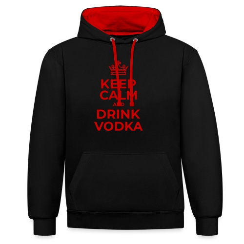 Keep calm and drink vodka (Rot) - Kontrast-Hoodie