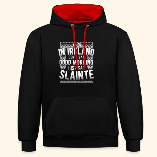 Ireland Shirt Sláinte - Kontrast-Hoodie