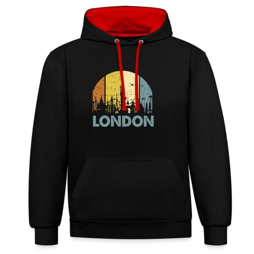 Vintage London Souvenir - Retro Skyline London - Kontrast-Hoodie
