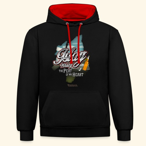 Whisky from Islay Peat of my Heart Tattoo Style - Kontrast-Hoodie