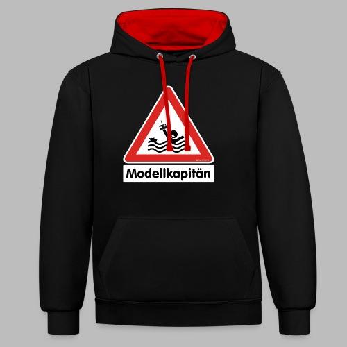 Warnschild Modellkapitän - Kontrast-Hoodie
