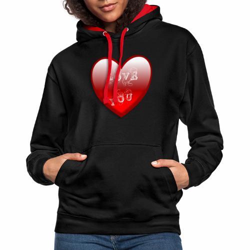 Love You - Kontrast-Hoodie