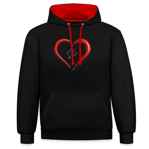 Shirt Herz auf vier Beinen - Kontrast-Hoodie