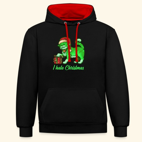 I hate Christmas giftig grüne Weihnachtsmann Katze - Kontrast-Hoodie