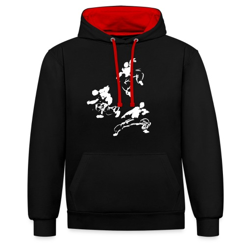 Kung fu circle / ink fighter in motion - Contrast Colour Hoodie