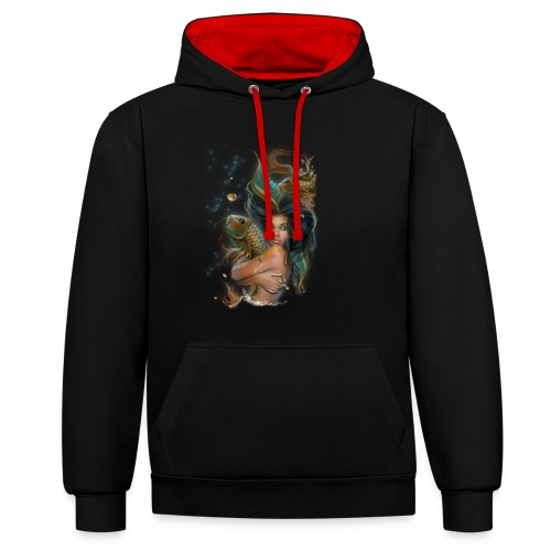 sunqueen sm png - Contrast Colour Hoodie