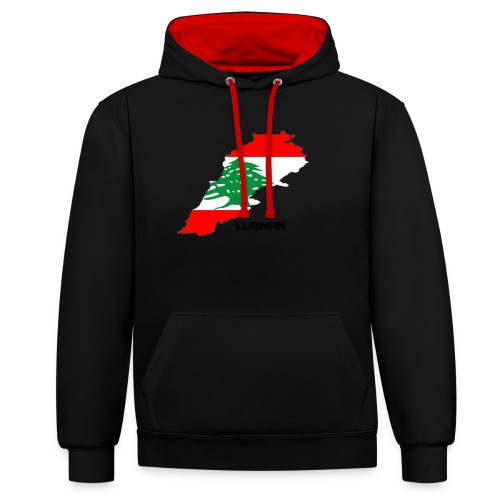 libanon landkarte - Kontrast-Hoodie