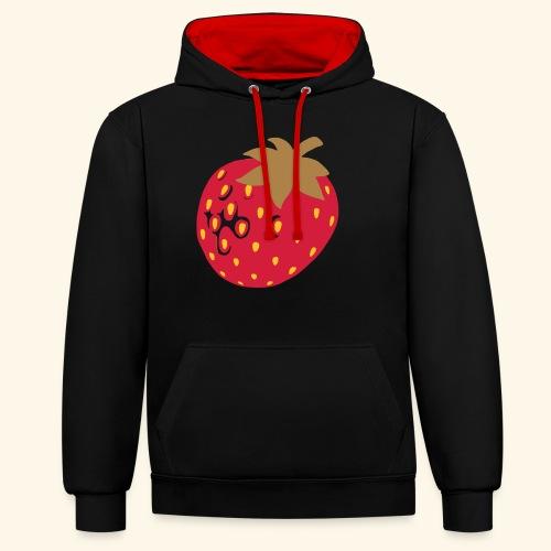 Erdbeere - Kontrast-Hoodie