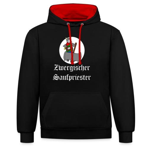 Zwergischer Saufpriester (weiße Schrift) - Kontrast-Hoodie