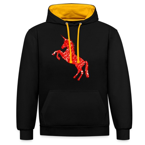 unicorn red - Bluza z kapturem z kontrastowymi elementami